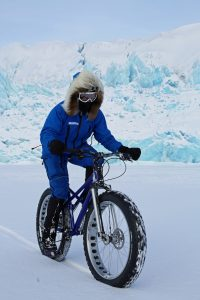 Kate Leeming Breaking The Cycle South Pole © PhilCoates. Training in Spitsbergen, Norway